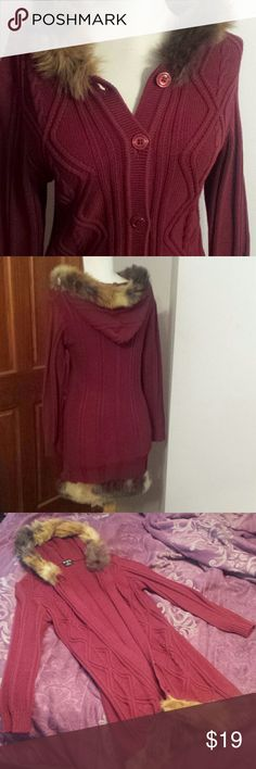 Fur-lined burgundy cardigan Burgundy, sweater material, perfect condition, worn twice, faux fur, warm and cute! ♡♡ Children's Place Sweaters Cardigans