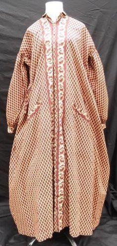 Rare Civil War period windowpane and floral print cotton maternity gown.