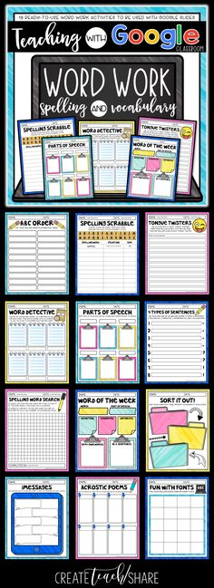 These word work activities were designed for students to use with google slides. Share through google classroom and assign for classwork, homework, or during daily 5 or language arts centers. These pages provide practice with spelling and vocabulary. Perfect for upper elementary students!