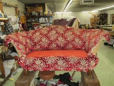Here is a before and after, we retied the springs added padding to arms and back. http://wardell-upholstery.com/