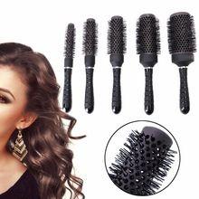 Kemei Cerámica del Hierro Redondo de Peine Peluquería Peluquería Hair Styling Brush Barril 5 Tamaños(China)