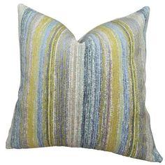 "Plutus Brands Spoft Strie Cornflower Handmade Throw Pillow Size: 20"" H x 30"" W"