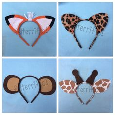 These felt animal ear headbands are super fun for playtime, birthday parties or anytime! Choose from these new animals! -Cheetah -Fox -Giraffe