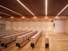 There are neutral spaces connected between them, only to content the artworks inside themselves, giving them the main role of the place. Bamboo Ceiling, Bamboo Wall, Ceiling Canopy, Bamboo Furniture, Design Furniture, Hall Interior, Interior Design, Baffle Ceiling, Auditorium Design