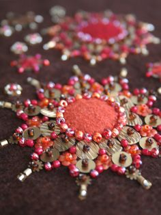 'Burst' closeup by a little bit of just because, via Flickr - beads and sequins -- gorgeous!