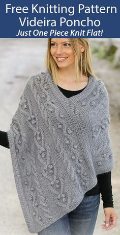 Free Knitting Pattern for Videira Poncho in 1 Piece - This poncho is knit flat in one piece with a cable and bobble pattern. 3 Sizes: S/M – L/XL – XXL/XXXL. Aran weight yarn - pattern uses a strand of lace and sport weight yarns held together. Designed by DROPS design. Available in English, Danish, French, German, Italian, Spanish, and more Free Aran Knitting Patterns, Loom Knitting, Free Knitting, Knitting Needles, Knitted Afghans, Crochet Dishcloths, Knitted Poncho, Crochet Blankets, Aran Weight Yarn