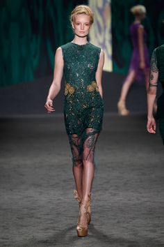 Cypress green chantilly hand-pieced lace sheath dress with gold jeweled waist over cypress green guipure sleeveless shift | Photography: Dan Lecca
