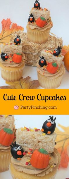 crow cupcakes adorable autumn fall cupcakes jelly bean crows cute food fun food for kids hay bale cupcakes rice krispie haybales with leaf sprinkles ask for whipped caramel whipped icing frosting Fall Dessert Recipes, Fall Desserts, Cupcake Recipes, Fall Recipes, Cupcake Ideas, Cupcakes Amor, Fun Cupcakes, Cupcake Cakes, Thanksgiving Cupcakes