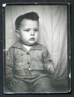 ROCKABILLY ZOMNIE BABY BOY in VINTAGE DENIM WORK CLOTHES! 1930s PHOTOBOOTH