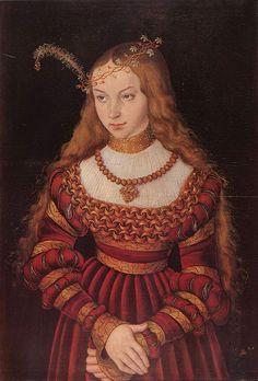 Lucas Cranach, Portrait der Prinzessin Sibylle von Cleve als Braut (fragment), c.1526