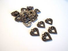Copper Heart Charms 16mm Beads (20) Antique Copper Victorian Pewter Findings Drops Beads Wholesale Jewelry Supply CrazyCoolStuff