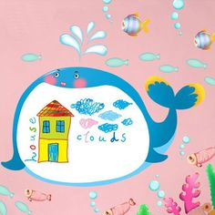 peel and stick whale wall decal for kids rooms