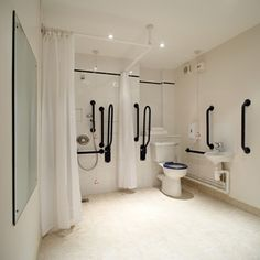 Disabled Bathroom Showers >> See us for more helpful design tips at DisabledBat Ada Bathroom, Handicap Bathroom, Laundry In Bathroom, Bathroom Showers, Disabled Bathroom, Hospital Design, Elderly Home, Yellow Bathrooms, Shower Remodel