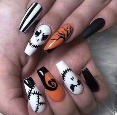 Ongles Gel Halloween, Halloween Acrylic Nails, Best Acrylic Nails, Acrylic Nail Designs, Nail Art Designs, Nails Design, Holloween Nails, Cute Halloween Nails, Halloween Nail Designs