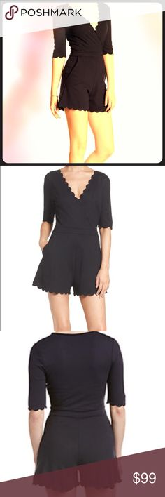 NWT French Connection Scalloped Romper New! Super cute scallop details. Front pockets. Crossover front. Stretchy Pull On romper.  Reasonable Offers Accepted. French Connection Dresses