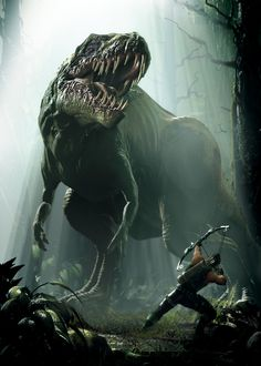 Arrows against scarry T-Rex! I'm not sure of his victory ! Jurassic World Dinosaurs, Jurassic Park World, Dark Fantasy Art, Fantasy Artwork, Fantasy Creatures, Mythical Creatures, Dino Crisis, Myths & Monsters, Dinosaur Illustration