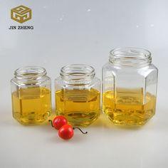 Hexagon glass honey jar with metal cap factory cheap price