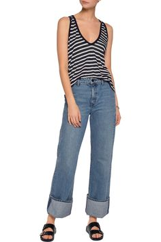 Shop on-sale T by Alexander Wang Striped jersey tank. Browse other discount designer Tops & more on The Most Fashionable Fashion Outlet, THE OUTNET.COM