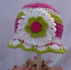 Crochet Beanie Hat with white flower- Hot Pink and Lime Green - www.theedgeof17.com by theedgeof17, via Flickr