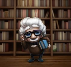 caricature of Albert Einstein   via http://dribbble.com/shots/271458-Librarian/attachments/9597