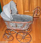 For Sale - Vintage Baby Doll Pram Carriage Stroller Wicker and Original Canvas Wood Wheels