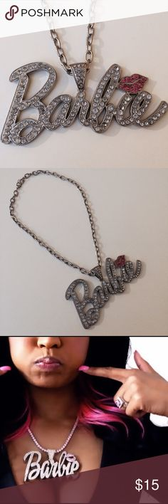 Nicki Minaj Barbie Necklace Never worn and in near new condition. Faux crystal embellished Barbie necklace just like the one Miss Minaj use to wear in her earlier years. Perfect for any Nicki fan or any Kawaii fan as well! Necklace is 10.5 inches in length. Jewelry Necklaces