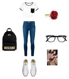 """""""Back to school"""" by rudycastaneda-rc on Polyvore featuring Frame Denim, Converse, Moschino, WithChic and Oscar de la Renta"""