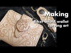 shield cross men's bifold wallet handmade leather carving 가죽카빙 - YouTube