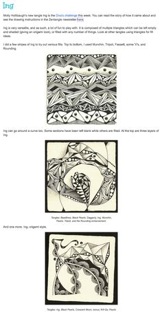 ING ~ how-to's from Margaret Bremner Zentangle Patterns, Zentangles, Pen Doodles, Tangle Doodle, Arts Ed, Textures Patterns, Tangled, Tutorials, Drawings