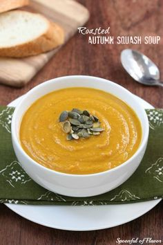 Try this roasted autumn squash soup that makes a great side dish and is topped with pumpkin seeds.
