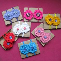 Colourful crochet flower hair bands