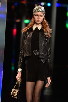 A model walks the runway during the Saint Laurent show as part of the Paris Fashion Week Womenswear Spring/Summer 2015 on September 2014 in Paris, France. Ss 15, Spring Summer 2015, Saint Laurent, Saints, Goth, Runway, Women Wear, Punk, Street Style