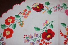 Vintage-Bright-Embroidered-Floral-Round-Tablecloth-25-Diameter-Pretty-AS-IS
