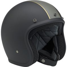 Biltwell Bonanza Helmet: LE Racer Black/Grey/Gold • Injection-molded ABS outer shell with hand-painted finish • Expanded polystyrene inner shell • Hand-sewn removable brushed Lycra liner with contrasting diamond-stitched quilted open-cell foam padding • Meets DOT safety standards • Rugged plated steel D-ring neck strap with adjustment strap end retainer • Rubber or chrome accent edging • XS through XXL sizes
