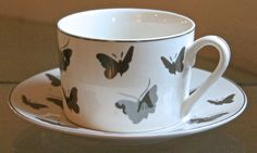 GRACE'S TEAWARE FLAT TEACUP & SAUCER SILVER METALLIC BUTTERFLY'S NEW PORCELAIN #GRACESTEAWARE