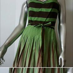 "BCBG MAXAZRIA Green Cotton Pleated Dress Sz 4 ▪Great condition- maybe worn a couple of times  ▪Lined ▪Beautifully designed with contrasting top and bottom  ▪Pleated full skirt  ▪Detailed with suplice belt  ▪Adjustable shoulder straps ▪Perfect for the office   COLOR: Greens Brown Beige  FABRICATION: 100% Cotton  MEASUREMENTS: *missing size label*  Chest=32""Empire Waist =26"" Lenght =30""(underarms to hem)  Thank You! Kostkutter ✂️ BCBGMaxAzria Dresses Midi"