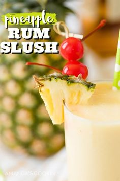 This Pineapple Rum Slush is a delicious mixed drink and alcoholic slushie in one! Perfect for summer parties, backyard barbecues, and hanging around the pool. Party Drinks Alcohol, Alcohol Drink Recipes, Easy Drink Recipes, Party Food And Drinks, Fun Drinks, Beverages, Cooking Recipes, Cabbage Recipes, Spinach Recipes