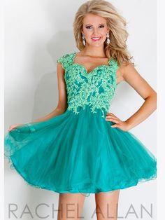 Cap Sleeves Lace Homecoming Dress Rachel Allan 6698