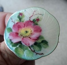 Norwegian Sterling Silver & Enamel Wild Rose Floral Brooch - H.C. Ostrem Norway