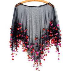 It's Raining Roses Fringe Beaded Sheer Poncho Boho Romance in Coachella Tiny Rosettes Cape ❤ liked on Polyvore (see more sheer ponchos)