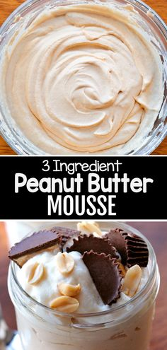 Easy Sweets, Vegan Sweets, Healthy Sweets, Vegan Desserts, Delicious Desserts, Easy Desserts, Peanut Butter Mousse, Sugar Free Peanut Butter, Healthy Peanut Butter