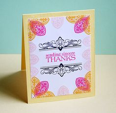 Sincere Thanks Card by Danielle Flanders for Papertrey Ink (June 2013)