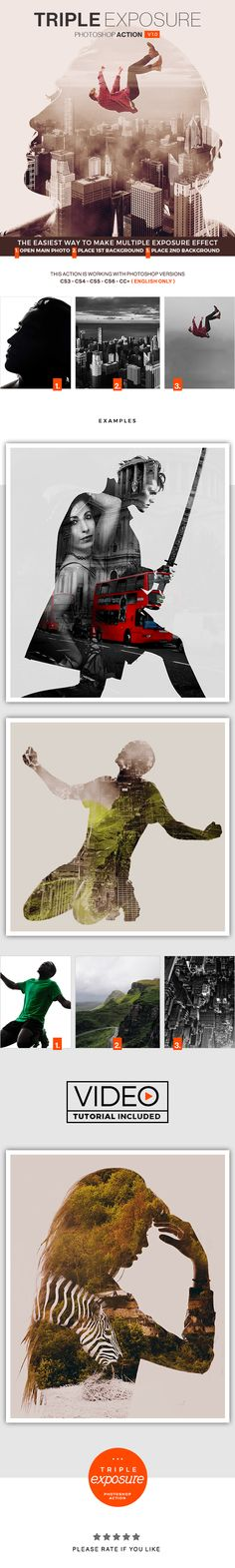 Triple Exposure Photoshop Action — Photoshop ATN #bi #light • Download ➝ https://graphicriver.net/item/triple-exposure-photoshop-action/19446971?ref=pxcr