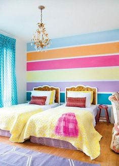 colorful bedroom decorating ideas and bright wall painting ideas