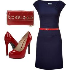 Cocktail Dress - NAVY + Red