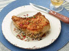 Stuffed Double-Cut Pork Loin Chops Recipe : Guy Fieri : Food Network - FoodNetwork.com