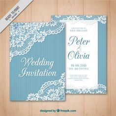 Cartão de casamento do vintage com detalhe de renda Vetor grátis