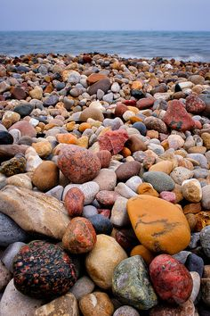 Lake Huron beach rocks at Lighthouse Park, Port Huron, MI