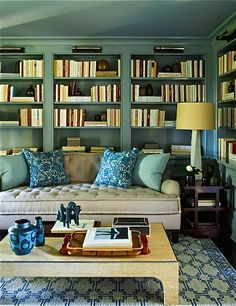 Painted Recessed Bookshelves