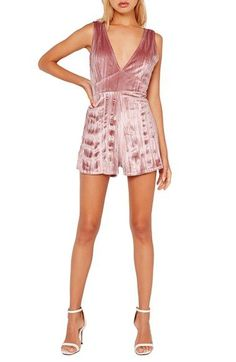 Free shipping and returns on Missguided Pleated Velour Romper at Nordstrom.com. Richly colored and gorgeously textured, this rosy velour romper is cut with a plunging neckline and leg-flaunting shorts that flirtatiously show off skin.